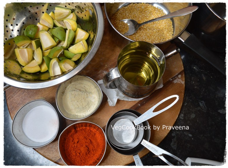 ANDHRA pesara avakaya / mango pickle with moong dal