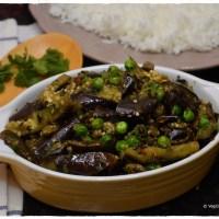 Brinjal - Green Peas Curry / Vankaya -Bataani Koora