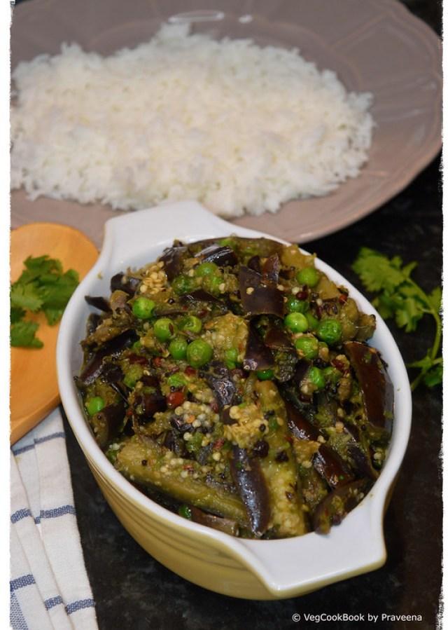 brinjal green peas curry / vankaya bataani koora