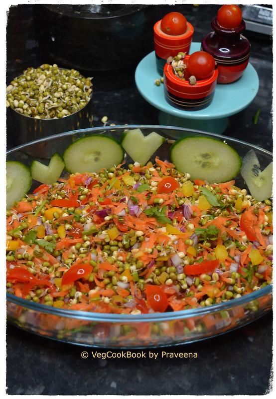 Green Mung (Sprouts) Rainbow Salad