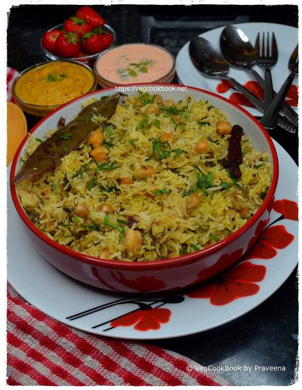 spinach & chickpeas pulao rice (south indian style)