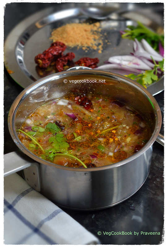 Vankaya Pachi Pulusu / Roasted Eggplant Cold Soup with grilled / roasted brinjal in air fryer / stove top fire.
