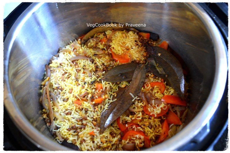 Green Moong Beans (Sprouts) Pulao Rice. One pot meal made in Instant Pot electric pressure cooker / stove top