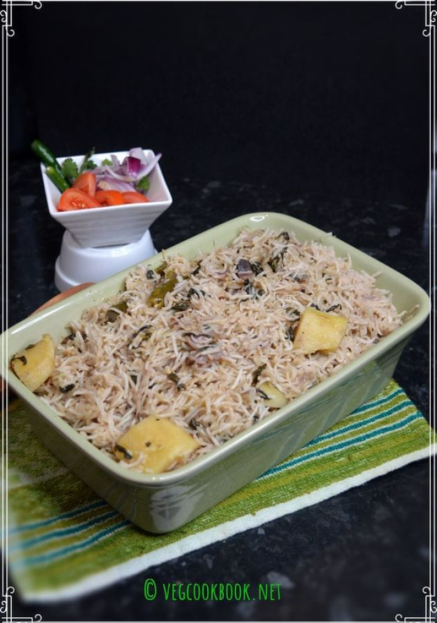 Methi Pulao / Rice with Fenugreek Leaves. Vegan,Gluten free,Plant based,Iron Rich, one pot meal,recipe with fresh greens.Instant Pot methods.