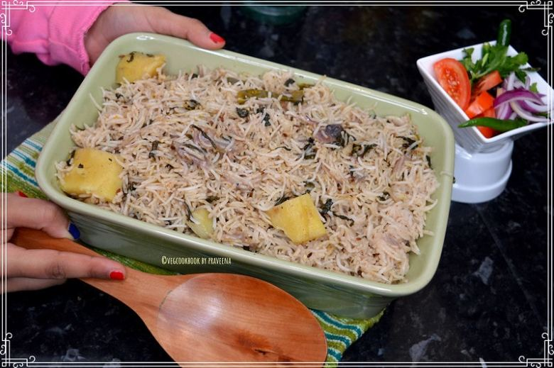 Methi Pulao / Rice with Fenugreek Leaves.Vegan,Gluten free,Plant based,Iron Rich,one pot meal recipe.using Instant Pot Pressure Cooker method.