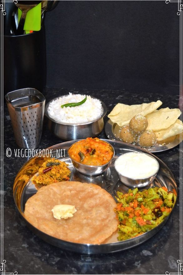 Bhojanam / Thali / Platter # 19 South Indian style, Vegetarian meal platter, with Plan, Tips, Recipes. On stove top / in Instant Pot Pressure Cooker using Pot In Pot method.