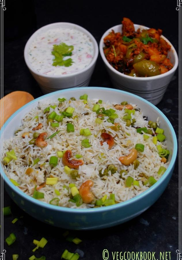 Spring onion pulao / rice using fresh scallions. Vegan,Vegetarian,Gluten free, one pot rice recipe made in Instant Pot,Stove Top,Rice cooker.