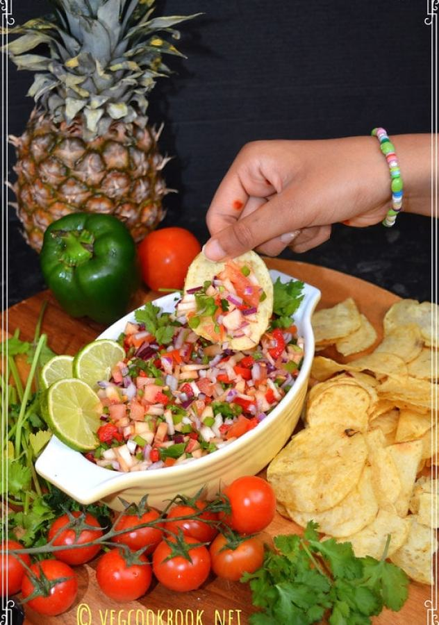 fresh tomato & peach salsa (Oil free) No-Cook, Vegetarian, Vegan, GF, Plant based quick, easy WFPB recipe suitable as a dip or a snack.
