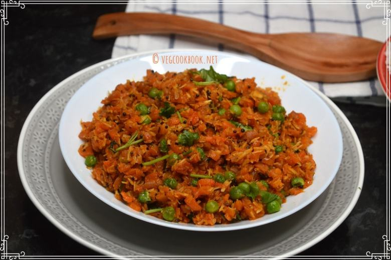 carrot green peas fry (south indian style) recipe. both stove top, instant pot pressure cooker methods. vegan, gluten free, poriyal, thoran.