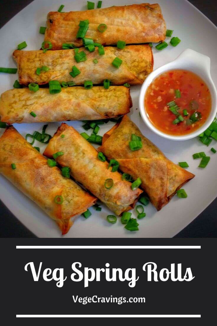 Veg Spring Rolls are scrumptious deep fried snacks made of a crispy shell filled with a delicious stuffing of lightly spiced and crunchy vegetables.
