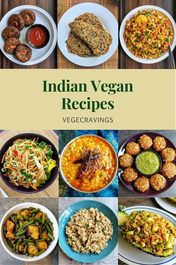A list of popular Indian vegan recipes, including a variety of delicious snacks, curries, rice, breads, salads and desserts.