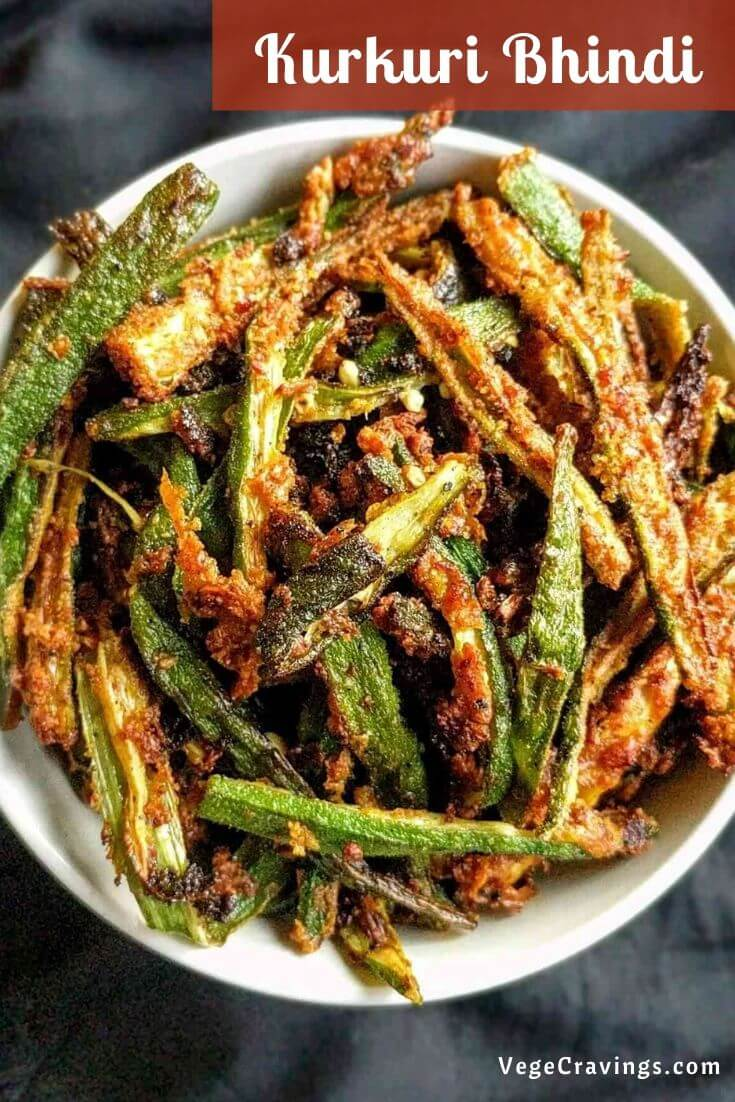 Kurkuri Bhindi is a crispy, spicy & delicious preparation made by deep frying Okra coated in Besan (Chickpea Flour) and spices.