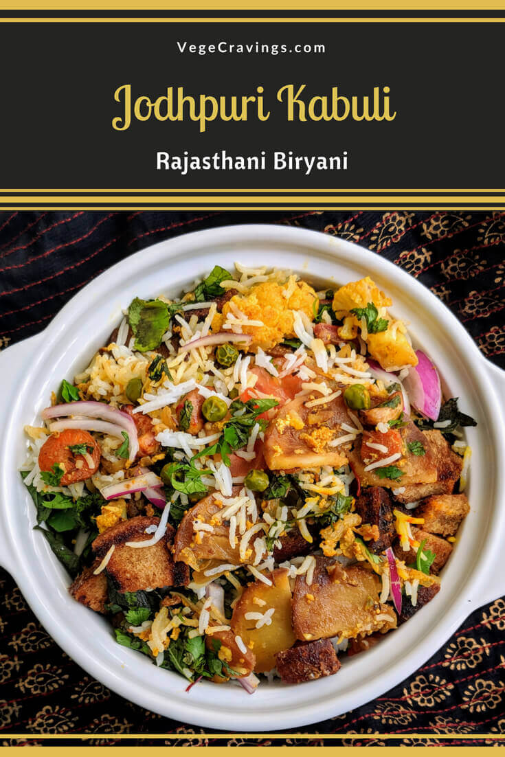 Jodhpuri Kabuli isan exotic dish made with layers of rice & spiced vegetable gravy cooked in yogurt topped with croutons & dry fruits.