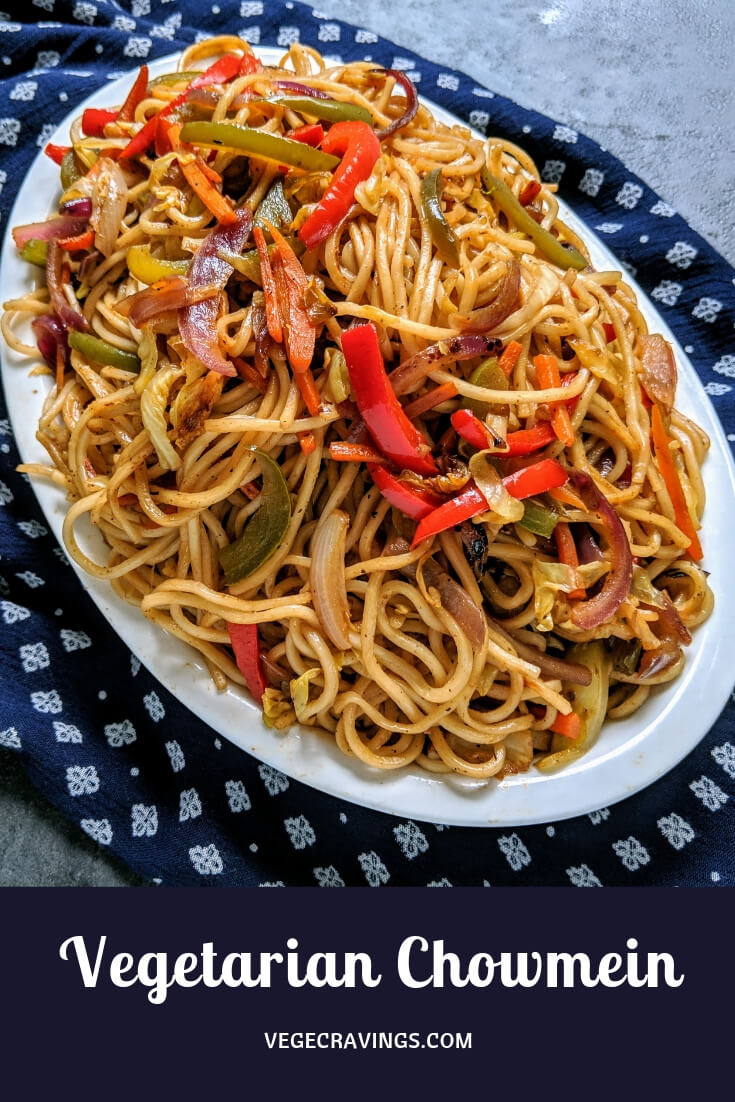 Veg Chow Mein is an Indo-Chinese dish made from stir fried noodles along with mixed vegetables and flavored with Chinese sauces.