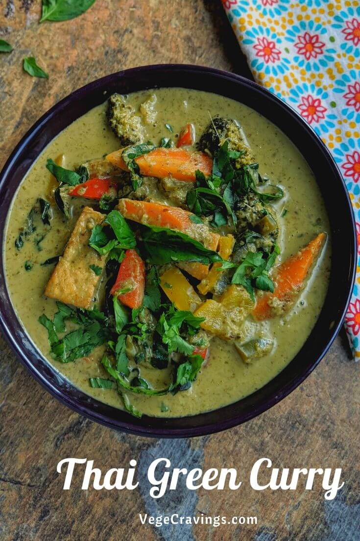 Thai Green Curry is made by cooking various assorted vegetables in a spicy coconut based gravy, flavored with aromatic herbs and spices.