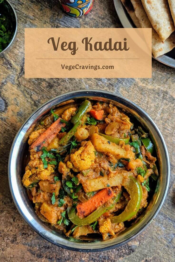 xVeg kadai is a delicious Indian vegetarian dish comprising of a mixture of veggies in cooked in a gravy flavored with a special kadai masala.