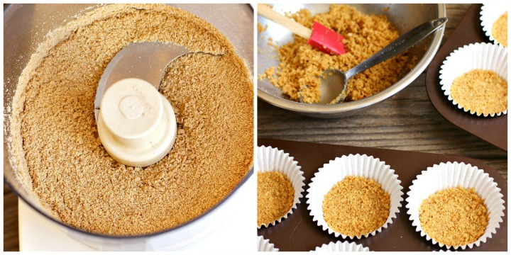 Collage with image of graham cracker crumbs in a food processor and image of a bowl of graham cracker crust and crust pressed into muffin papers.