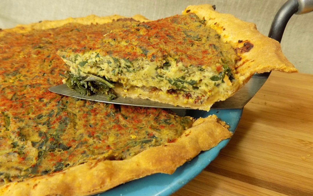 Tofu Quiche with Mushrooms and Greens /Vegan/Vegetarian