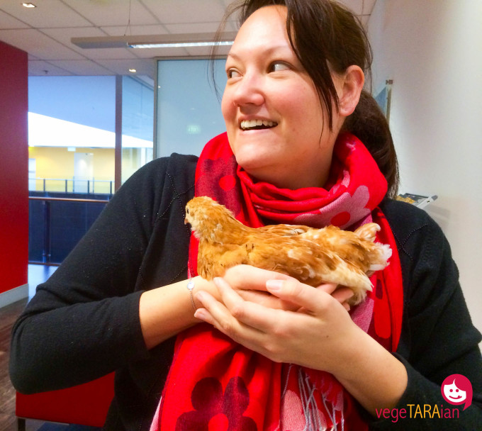 Tara Mathews and baby chicken