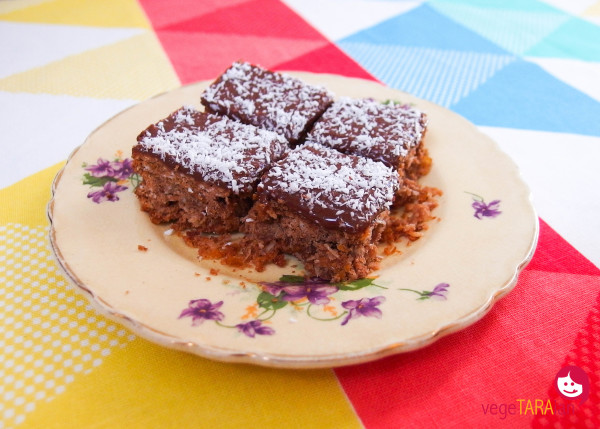 Chocolate, corn flake and coconut slice