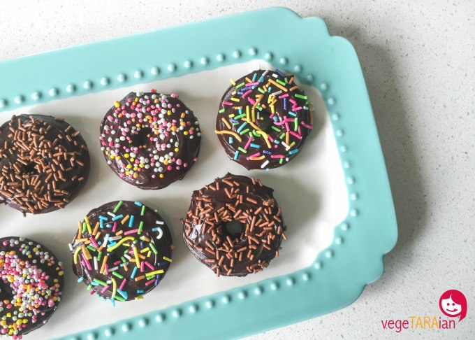 Mini chocolate donuts, dairy-free and egg-free