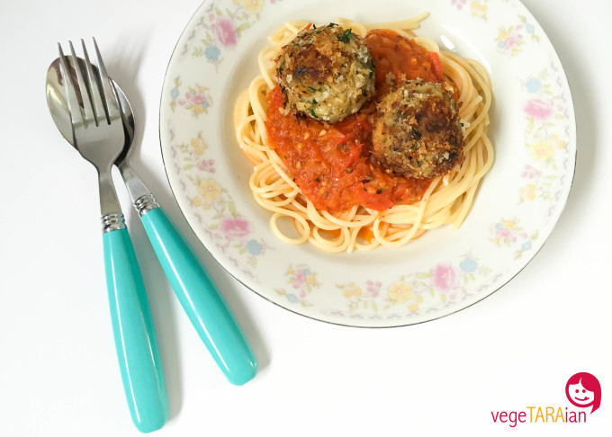 Eggplant 'meatballs' with homemade tomato sauce and spaghetti, made in the Cuisine Companion