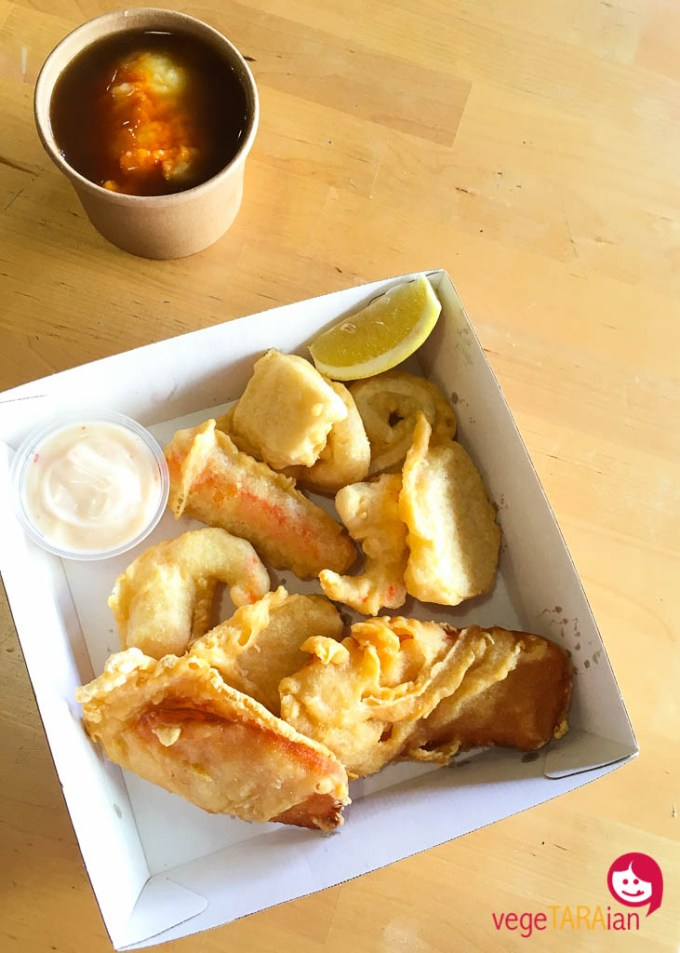 Vegetarian seafood at Bliss and Chips in Newtown