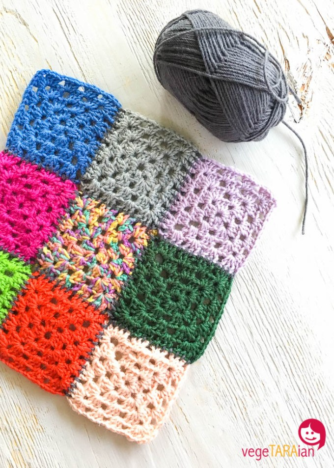 Crochet granny squares joined