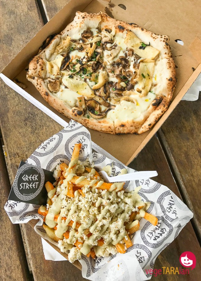 Mushroom and truffle pizza from Happy as Larry, chips with feta and oregano from Greek Street at Park Feast