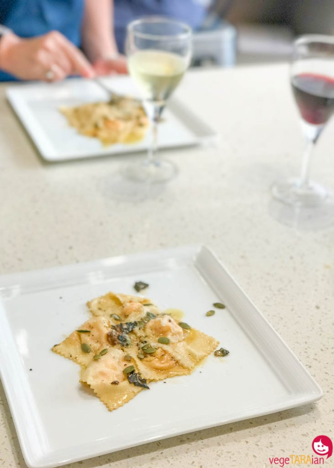 Pumpkin and ricotta ravioli at Casa Barilla