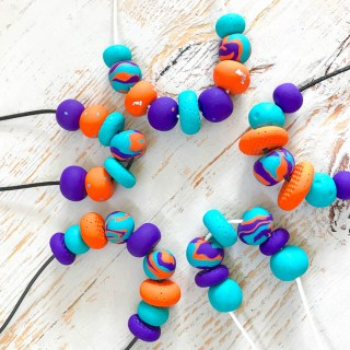Polymer-clay-teal-purple-orange