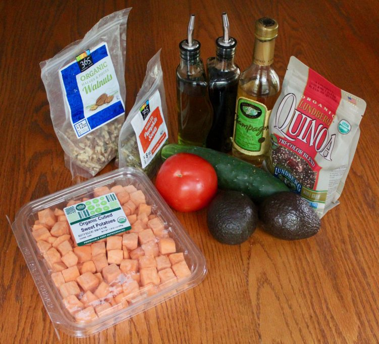 Ingredients for quinoa power bowl