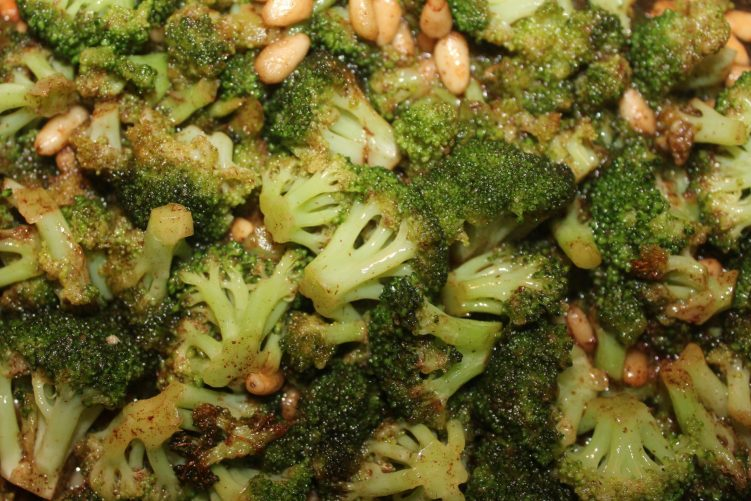 Broccoli and pine nuts in a brown butter sherry sauce