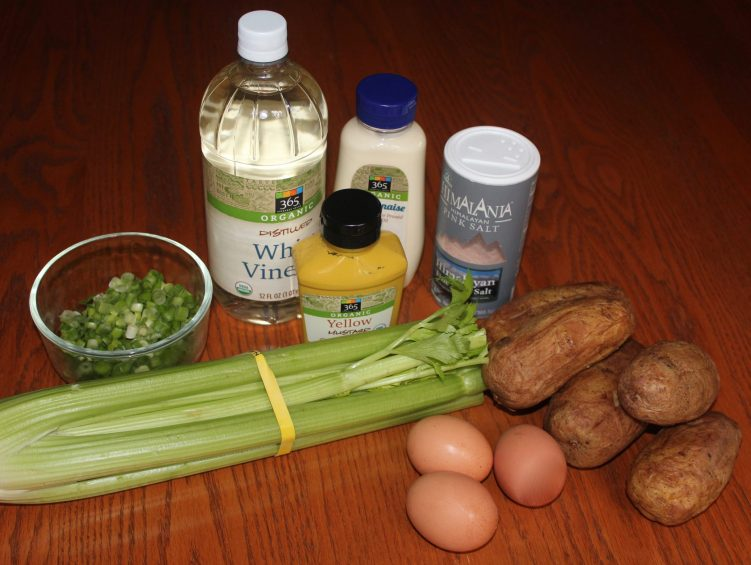Ingredients for mustardy, eggy potato salad