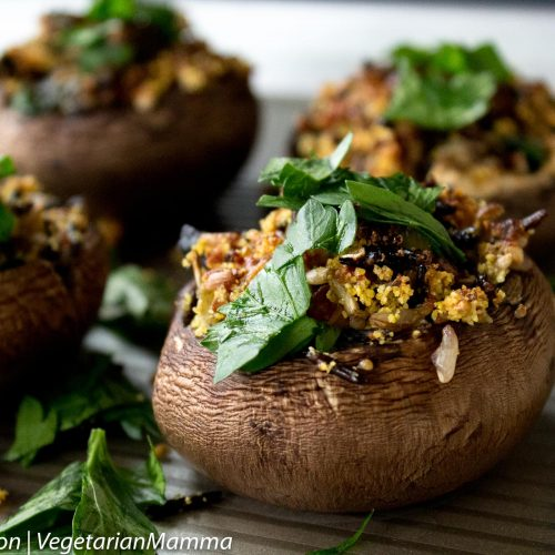 Gluten Free, Vegetarian Wild Rice Stuffed Mushrooms