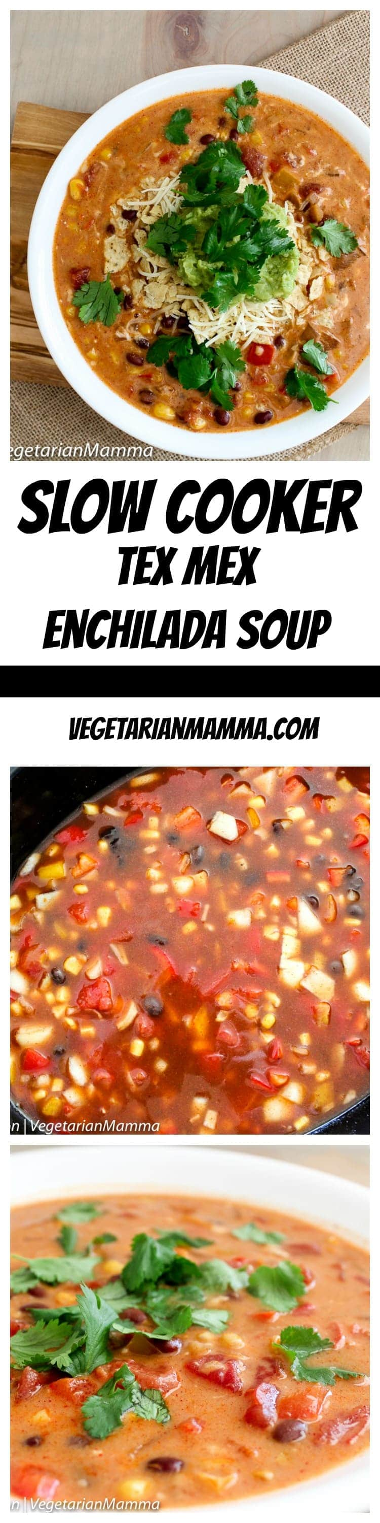 Crockpot Cheesy Enchilada Soup is a delicious soup that basically makes itself! Who doesn't love a slowcooker meal? This vegetarian slow cooker enchilada soup is sure to please! #soup #crockpot