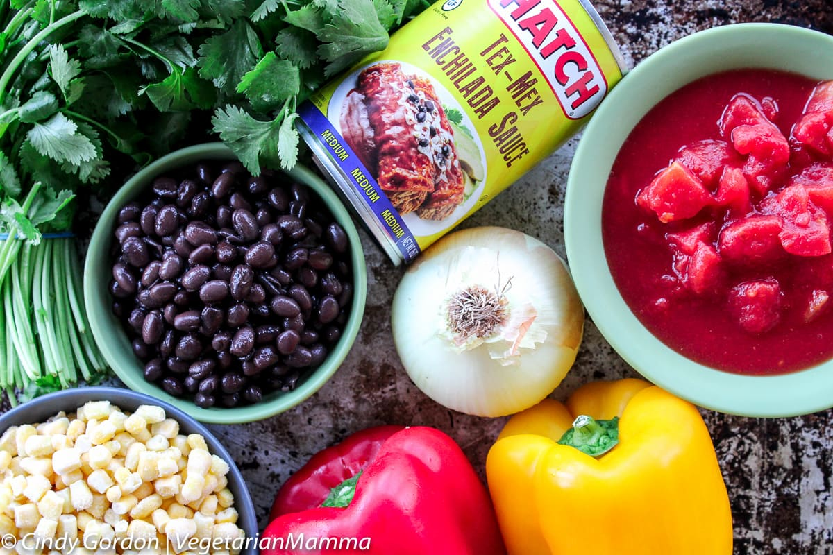 Slowcooker Tex Mex Enchilada Chowder ingredients