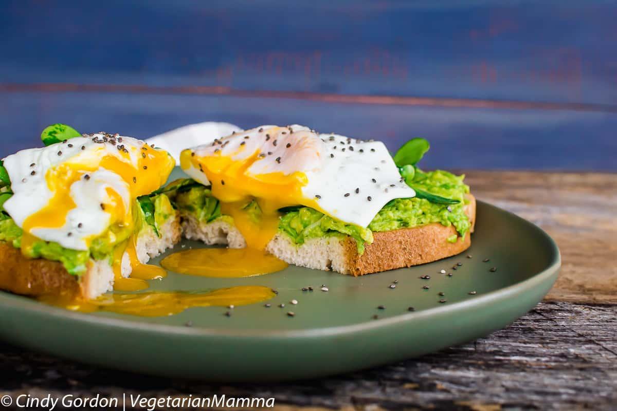 Fried Egg Avocado Toast with runny yolk
