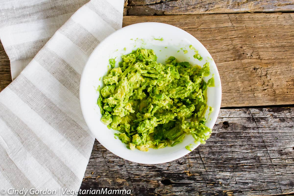 smashed avocado in a bowl