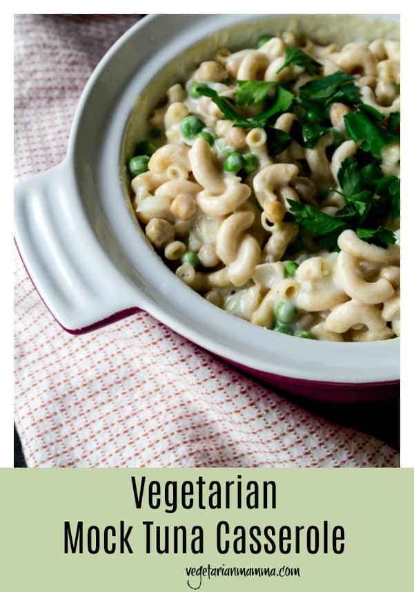 Vegetarian Mock Tuna Casserole can be served Vegan