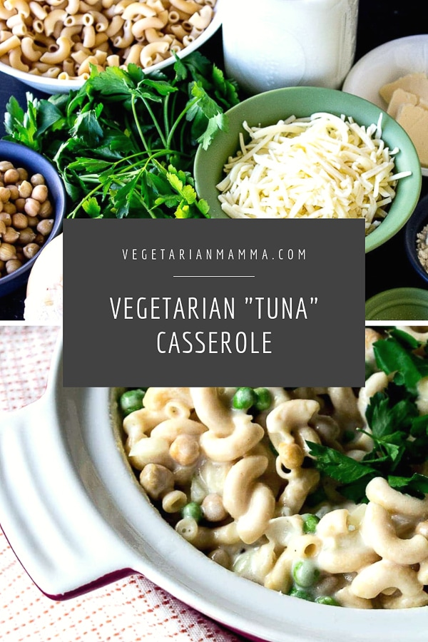 Vegetarian Tuna Casserole pin with graphic and text overlay
