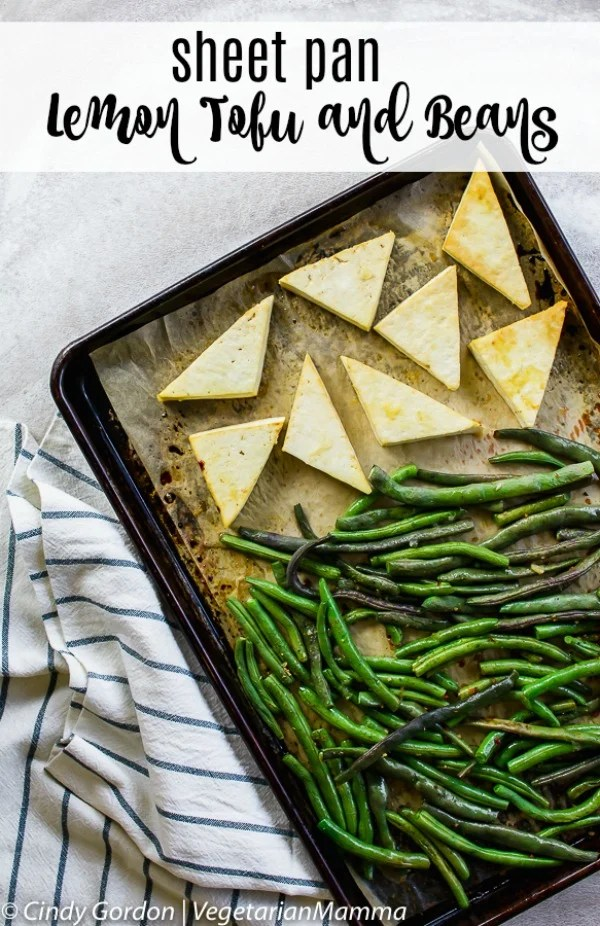 This Sheet Pan Lemon Tofu and Beans recipe is the perfect meal for any night of the week! Tasty and delicious, your family will love it! #tofu #lemontofurecipe #vegetarian