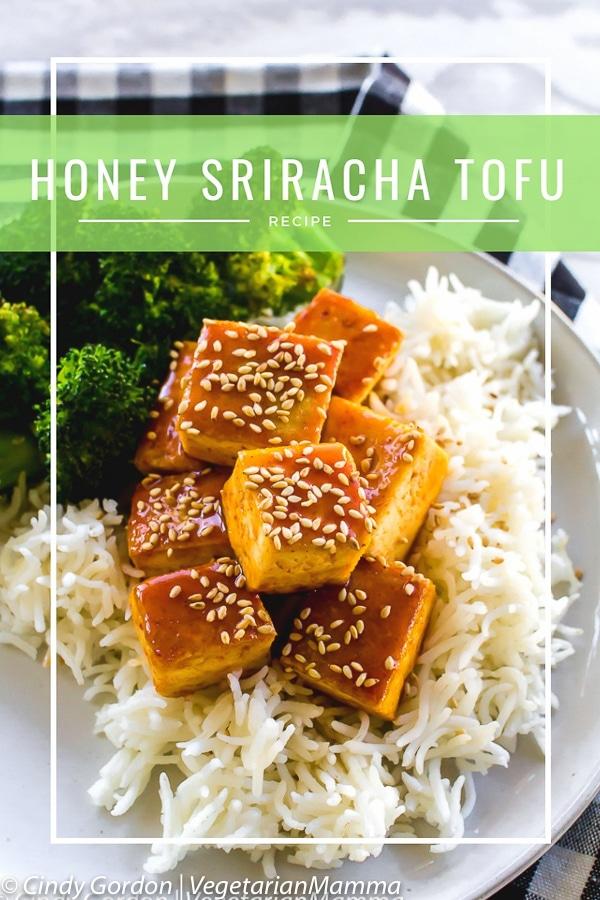 Honey Sriracha Tofu is a delicious spicy fried tofu recipe topped off with a sweet and spicy Sriracha sauce. This easy tofu recipe is a winner for game day! #Sriracha #Srirachatofu