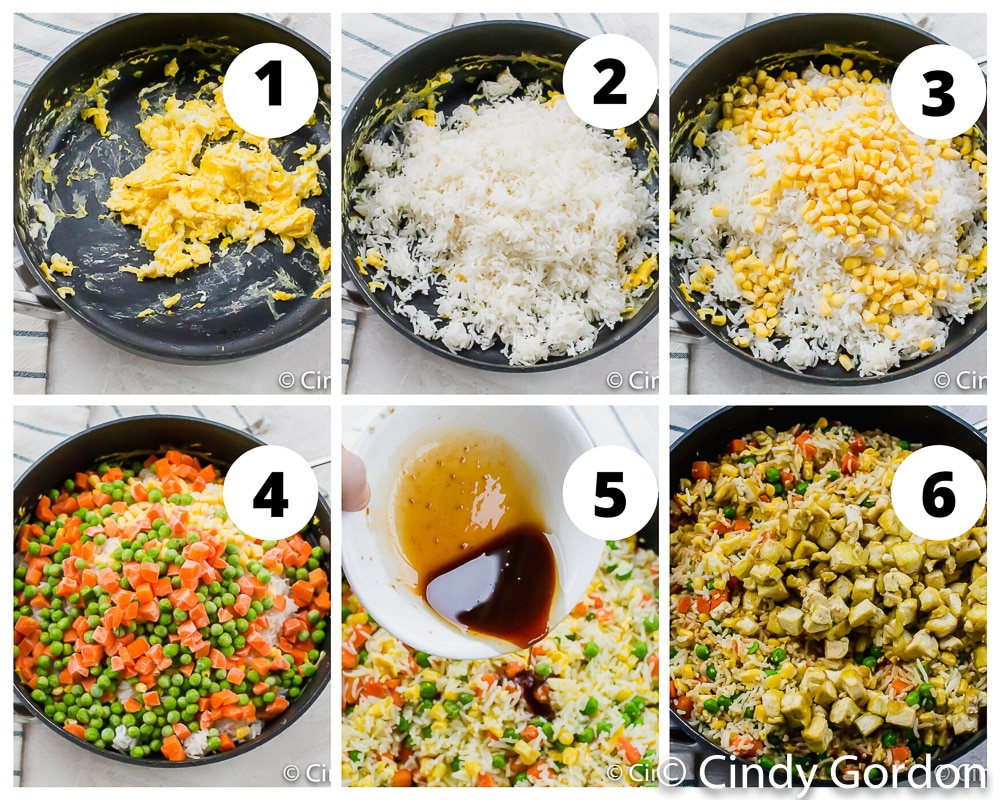 a collage of six photos showing instructions for making tofu stir fry in a skillet