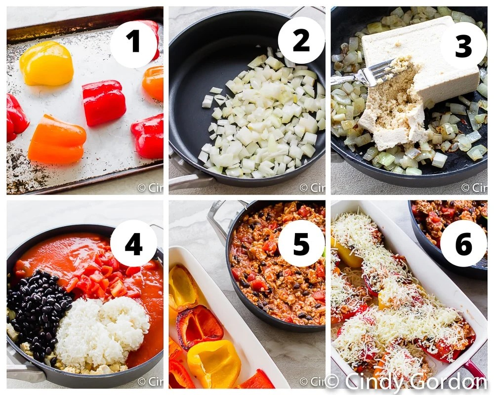 collage picture of the steps to make vegetarian stuffed peppers