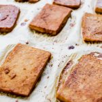 tofu marinated and baked to resemble the flavors of bacon