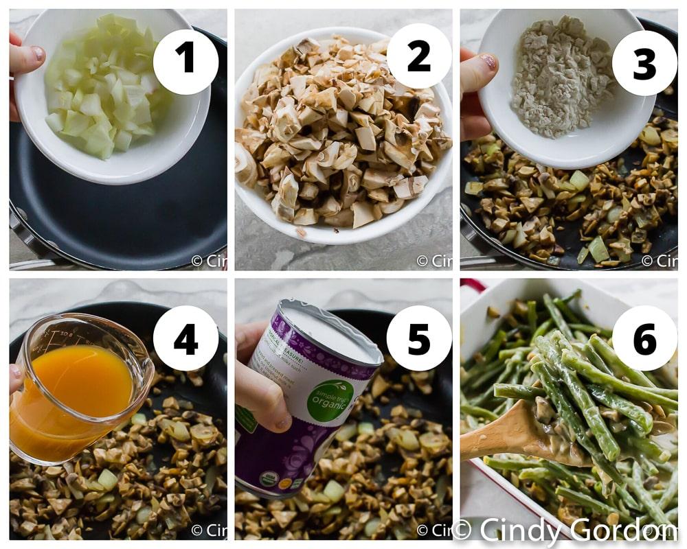 steps to make vegan green bean casserole