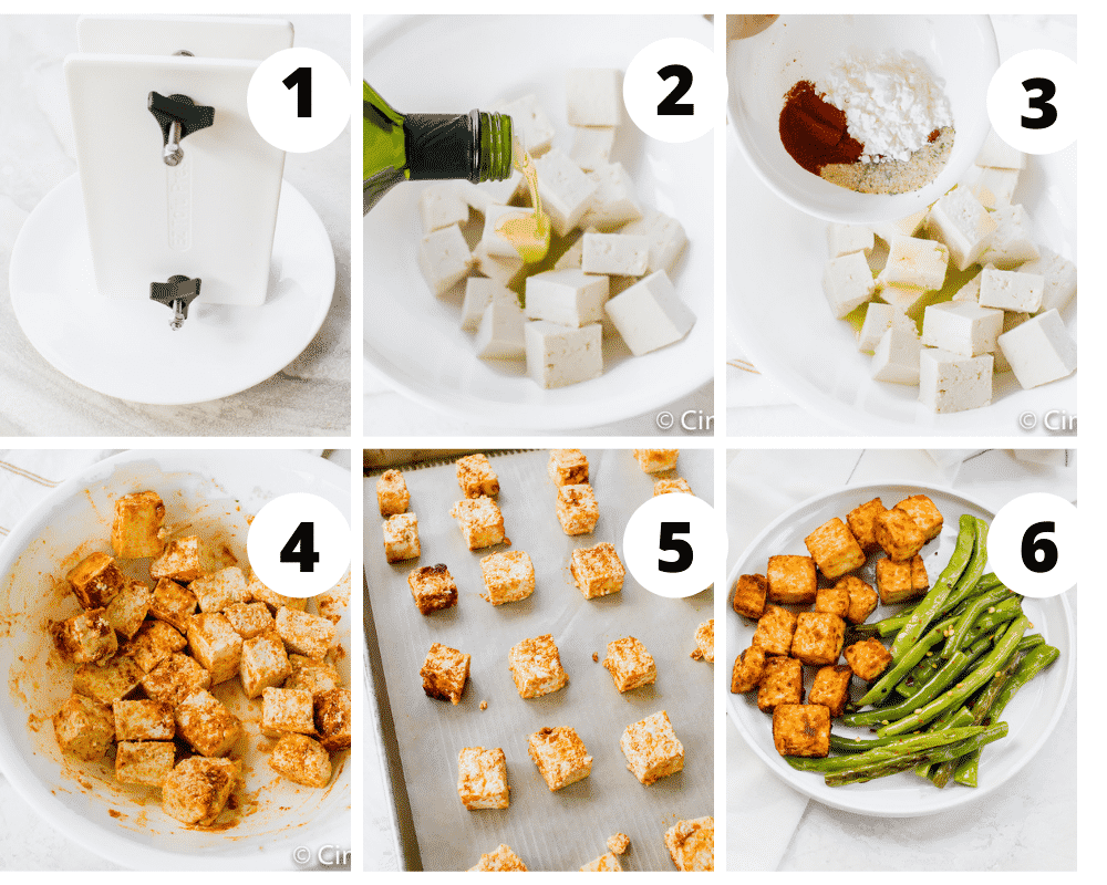 Collage of steps to make tofu roasted in the oven
