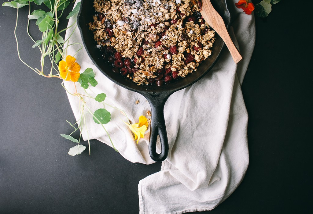 Salted Maple Dark Chocolate Raspberry Crumble