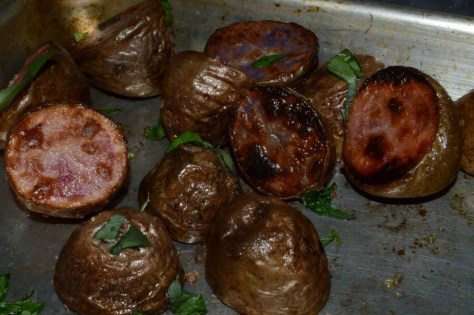 And now ready to eat after roasting for a few minutes in a pre-heated hot oven.